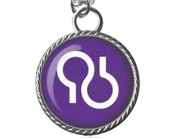 Alzheimer Necklace, Alzheimer Symbol Necklace, Purple, Awareness Image Pendant Key Chain Handmade
