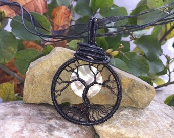 Handmade Jet Black Tree of Life Pendant