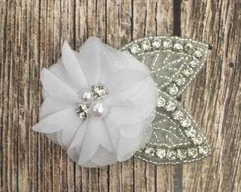 White hair clip, flower girl hair clip, rhinestone hair clip, flower hair clip, alligator clip, wedding clip, vintage clip