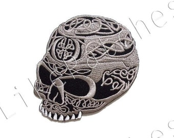 Elegance Skull - Ghost Halloween Patch New Sew / Iron On Patch Embroidered Applique Size 8.2cm.x8.4cm.