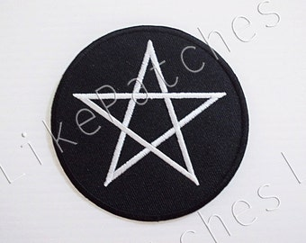 Star On Black Patch New Sew / Iron On Patch Embroidered Applique Size 8.2cm.x8.2cm.
