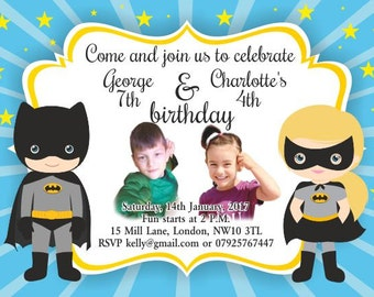 10 x Children Birthday Party Invitations or Thank you Cards Batman