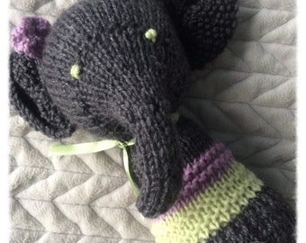 PATTERN PDF Knitted Elephant Rattle, baby handmade knitted toy rattle, perfect gift, do it yourself, animal softies, knit toy tutorial