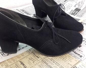 Vintage 1940's Enna Jetticks black oxford Shoes size 7 US