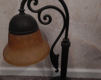 Wrought Iron One Light with  Amber color Blown Glass