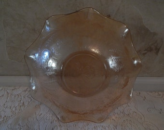 Vintage Floragold Etched Luster Glass Scalloped Bowl