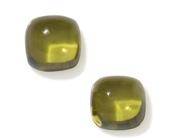 Italian Idocrase Set of 2 Cushion Cabochon Loose Gemstones 1A Quality 4mm TGW 0.70 cts.