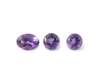 African Amethyst Loose Gemstones Oval and Round Cut Set of 3 1A Quality 2-5mm Round 1-7x5mm Oval TGW 1.60 cts.