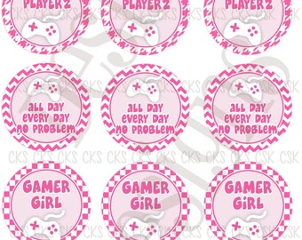 "2- 1"" Digital Bottle Cap Sheet **INSTANT DOWNLOAD** Gamer Girl Game"