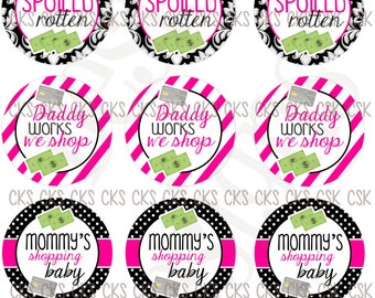 "1"" Digital Bottle Cap Sheet **INSTANT DOWNLOAD** Born To Shop"