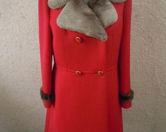 "Spectacular 1960s Wool Gabardine Heavy Jacket with Faux Fur Collar / Trim -- Bust:  38"""
