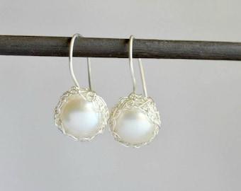 Crochet pearl dangle earrings - sterling silver, bridal jewelry