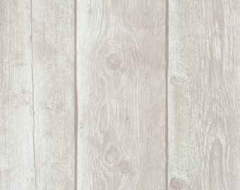 Faux Finish Timber Plank Grey Brown Wallpaper R1882