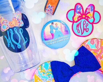 Lilly Pulitzer Inspired Mouse Monogram Tumbler