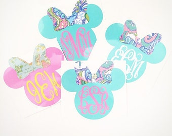 Lilly Pulitzer Inspired Mouse Monogram Decal For Tumblers/Cups