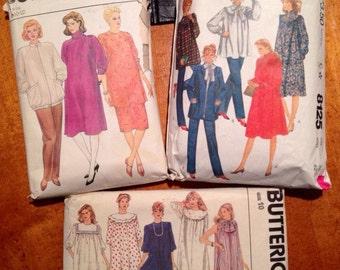 Set of 3 1980's Maternity Patterns, Butterick # 4874, 6097, & McCall's # 8125