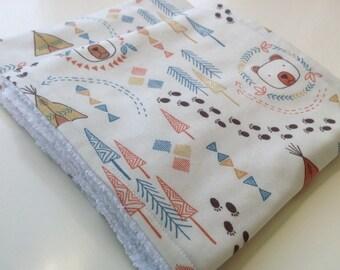 Burp cloths - Bears burp cloths - Set of woodland burp cloths - Modern baby burp cloths - Teepee burp cloths - Wigwam burp cloths
