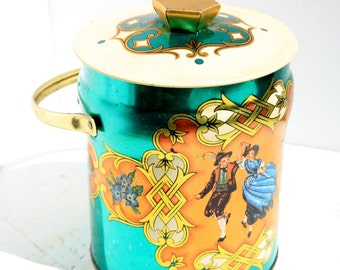 Vintage decorative tin with handle/ lid, made in England, Murray Allen confections, Advertising tin, dancing couple, made in England