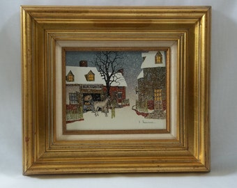 """Catalda Fine Arts Produced Reproduction of """"Winter Village Blacksmith"""" Folkart Signed H. Hargrove, Painting On Canvas"""