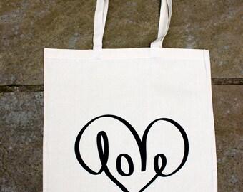 LOVE//Screen printed canvas shopping tote bag