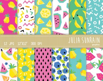 Frutti - Fruits -Summer - Tropical - Digital Paper Set - Instant Download - Personal and Commercial Use