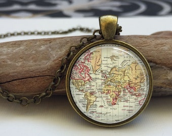 Map necklace.  Old world map art pendant jewelry (map#2)