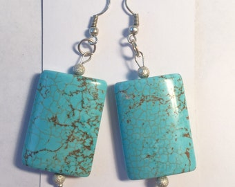 Blue earrings aqua colored