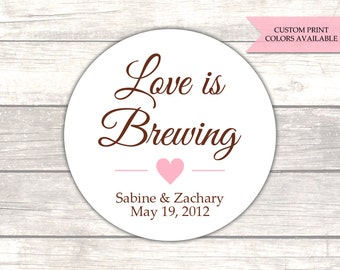 Love is brewing sticker - Coffee favors - Wedding favor stickers - Wedding labels - Tea favors (RW013)