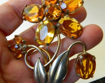 Gorgeous amber glass stones- Huge and bold Pin-1940's