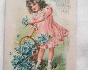 Vintage Embossed Postcard Little Girl Valentine