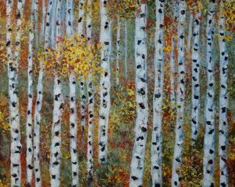 Aspen Trees Painting, fall autumn colors, aspen wall art, Impressionism Wall decor, Tree Landscape