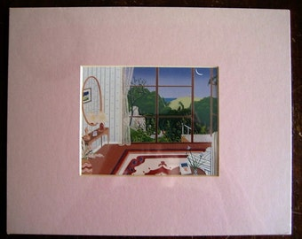 Room with a View Print - Unknown Artist - Pink Mat