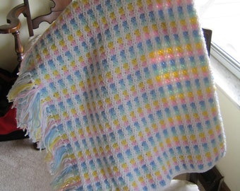 Pink Blue Green Yellow White Crocheted Baby Blanket