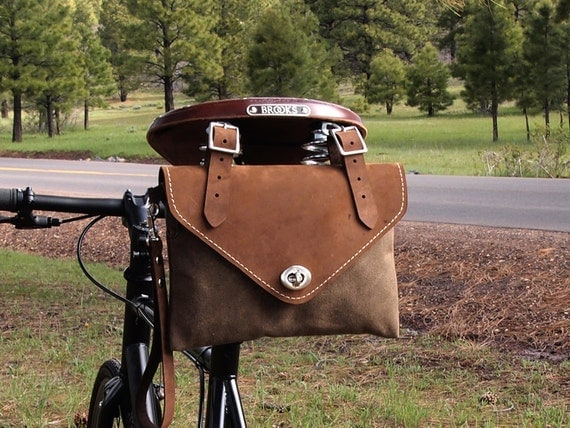 SUNDAY RIDE, Bicycle Bag, Wristlet / Clutch, Crazy Horse Gaucho Leather and Tan Waxed Canvas