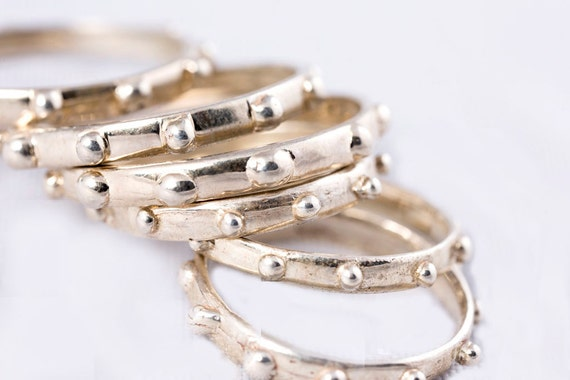 Silver Stud Stacking Rings