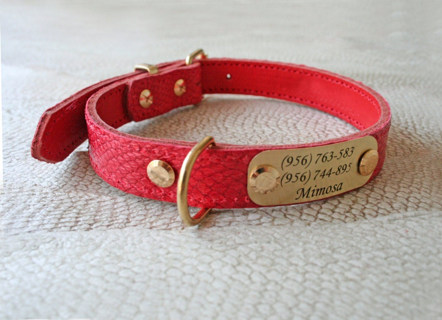 Genuine leather dog collar fish leather personalized leather for Fish dog collar