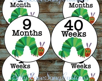 Hungry Caterpillar Printable Monthly Baby Stickers or Weekly Bump Stickers! DIGITAL FILES! 4inch Rounds
