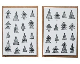 Christmas cards, Christmas card, Merry Christmas, 2 pcs. Greeting card, Risograph, Christmas tree, fir tree, stamped,