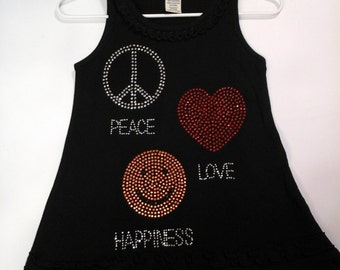 Black Peace love and Happiness Dress
