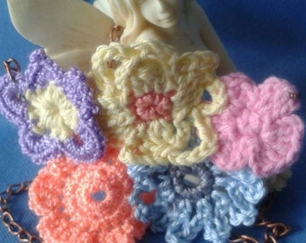 Hand Crocheted Floral Necklace.