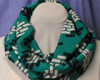 Infinity Scarf with Geometric Print, Green Chiffon