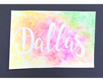 Dallas - rainbow watercolor