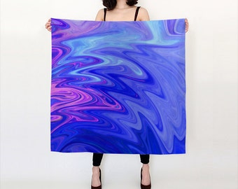 Trippy, Liquid, Blue and Pink, Watercolor Silk Scarf, Original Abstract Watercolor