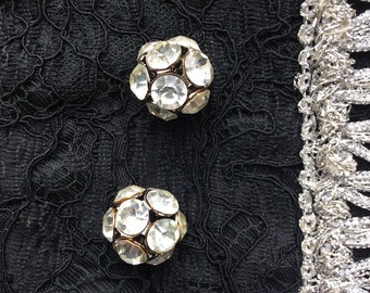 Vintage rhinestone buttons round faux diamonds buttons set of 2 mid century 60s festive gown buttons rockabilly sewing supplies