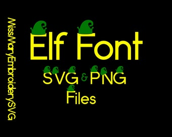 SVG PNG Elf Christmas Font Alphabet Numbers Special Characters for Cutting Machines