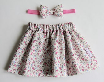 Girl's Skirt, Floral Skirt, Pink Skirt, Baby Skirt, Toddler Skirt, Cotton Skirt, Skirt Set, Baby Girl Skirt, Girls Clothing, Baby Clothes