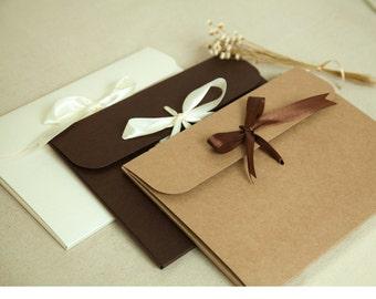 20 Paper Jacket with RIBBON - Kraft / White / Dark Brown - Paper Folder, Envelope - Gift Packaging - Scarf Box, Photography- Wedding Favors