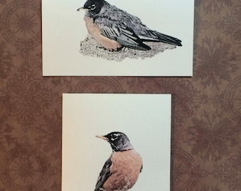 Set of 12 Handmade Blank Red Robin Bird Print Note Cards