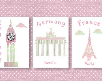 850,Oh, the places you'll go, dr Seuss, baby girl decor, travel nursery, baby art print, England, Germany,France,travel nursery