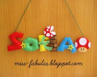 SUPER MARIO BROS Felt Banner Name for baby mushroom stars chimney poster name room baby